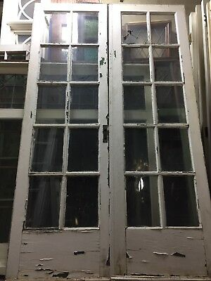 "French Doors old antique vintage 79 1/2"" X 24"" Each 10 Light"
