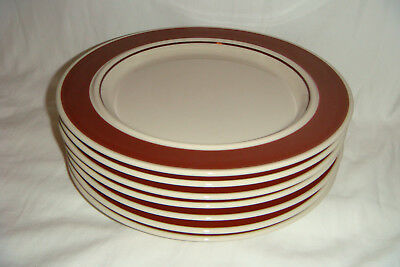 Set of 7 Vintage Ranmaru Japan 9559 Brown Band Dinner Plates 10.5""