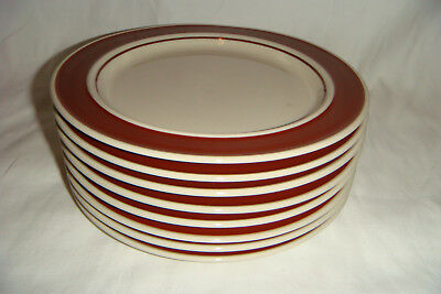 Set of 8 Vintage Ranmaru Japan 9559 Brown Salad / Desert / Appetizer Plates 7.5""