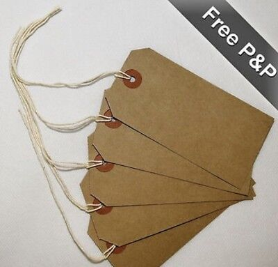 Quality brown parcel strung/price tags tie on craft label, 4 sizes S/M/L/XL
