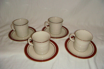 "8 Piece Set of Vintage Japan Stoneware 4 Cups & 4 Saucer Plates 6.25"" Lot 1"