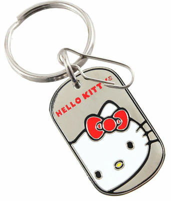 Hello Kitty Core Tag Key Chain, Enamel Finish On Chrome Metal Tag, New Free Ship