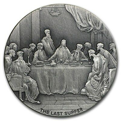 The Last Supper 2 oz .999 silver coin Biblical series, Bible Story 2016 Antiqued