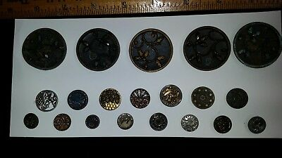 15 Cut Steel Flowers & Set of 5 Large Antique Metal Buttons Victorian Nice!