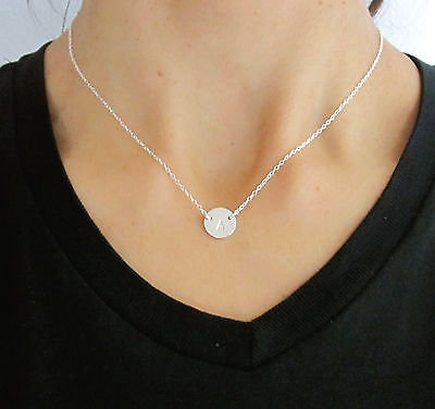 Sterling silver personalized Monogram Letter disc necklace, initial or number