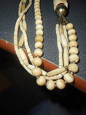 "Vintage Bone Necklace Carved Elephant Approx. 29"" Long A Unusual Piece"