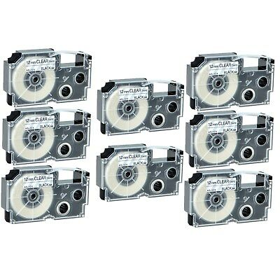 """8PK XR-12X Black on Clear Label Tape for Casio KL-60 100 7000 8200 8800 1/2"""""""