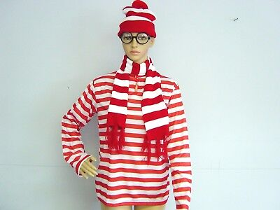 Wheres Wally Waldo Wanda Wendy Red White T-shirt Beanie Hat Glasses Costume Kit