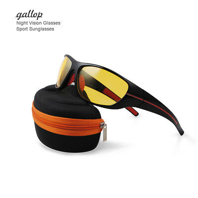Night Sight Driving Glasses Sports Sunglasses Yellow Wrap Glasses Clear Lens NEW