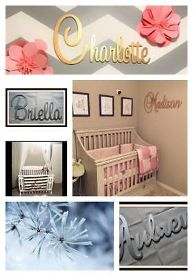 Wooden Name Metallic Gold and Silver Kids Room Nursery Decor Wall Letters Wood