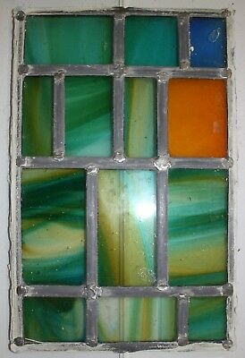 Vintage Colorful Leaded Stained Glass Window Panel (10.5 X 16.5 inch)