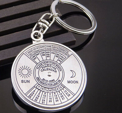 Modern Perpetual Calendar Keyring Keychain Unique Metal Key Chain Ring 50 Years