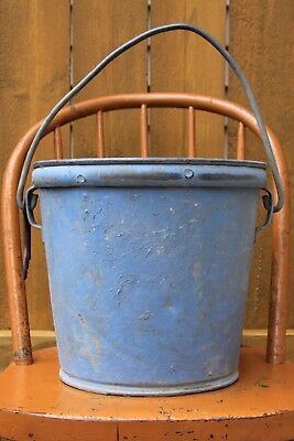 Vintage Heavy Gauge Galvanized Rivited Metal Bucket Farm Rustic Barn Ash Pail