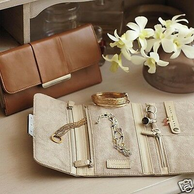 Blue Leather Jewelry Roll Travel Case Anti Tarnish Red Envelope Co Gift NEW $90