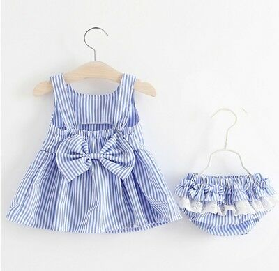 USA Baby Girls Striped Bow Tutu Dress Tops+Shorts Pants Summer Outfit Clothes