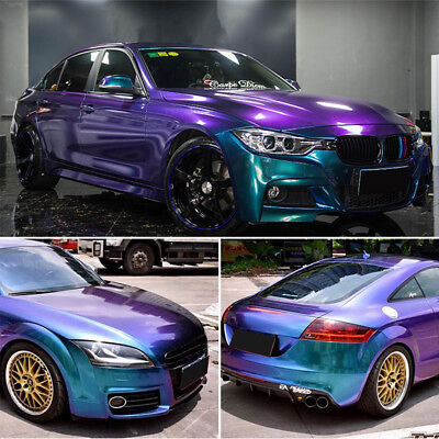 Gloss Metallic Chameleon Purple Blue Vinyl Wrap Sticker Sheet Air Bubble Free