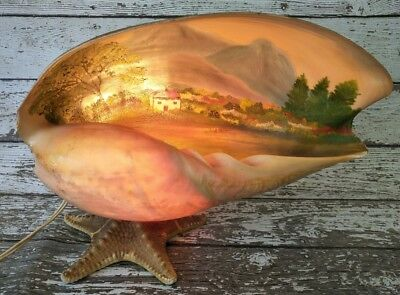 Vintage Shell Lamp - Hand Painted - Starfish
