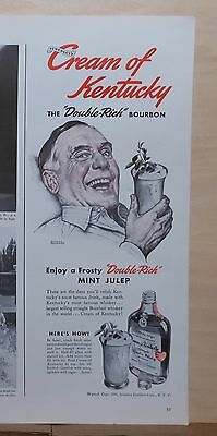 1940 magazine ad for Cream of Kentucky Bourbon - Mint Julep, N. Rockwell art