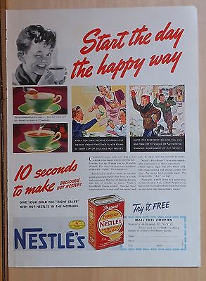 1940 magazine ad for Nestles EverReady Cocoa Mix - Start the day the happy way