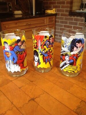 "3 Superman The Movie Pepsi Glasses DC Comics 1978 16 oz, 5-1/2"" tall"