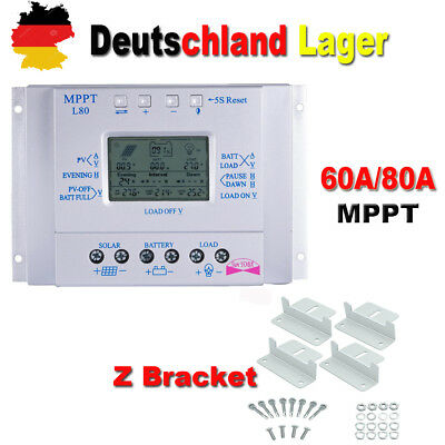 MPPT Laderegler Solarregler Panel Regler 60A 80A 12V/24V Timer+ Z Bracket Kit BE