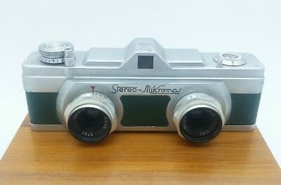 Vintage MEOPTA Stereo MICROMA Camera with f3.5 25mm Lenses Czechoslovakia