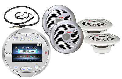 "4 Silver Marine 6.5""Speakers, Marine Gauge Style Bluetooth AM FM Radio & Antenna"