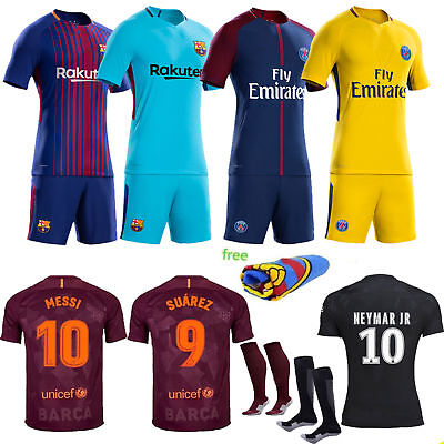 2017-18 Football Soccer Kit Kids 3-12 Yrs Sport Outfit Short Sleeve Jersey+Socks