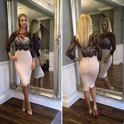 Size 6-14 Womens Long Sleeve Casual Evening Part Bodycon Cocktail Lace Dress UK