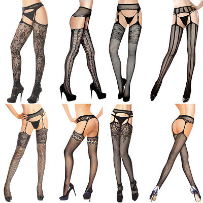 Sexy Crotchless Suspender Tights Sheer Fishnet Open Crotch stockings Garter Belt