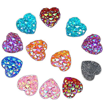 50PCS Heart Flat Back Resin Glitter Rhinestones Scrapbooking Wedding Craft UP