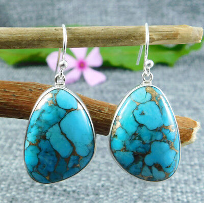 """925 Sterling Silver 9.66g Copper Turquoise Gemstone Earring 1.4""""M7E110"""