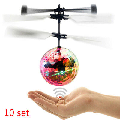 10 Set Infrared Induction Flash Flying Ball Colorful LED Disco RC Helicopter BE