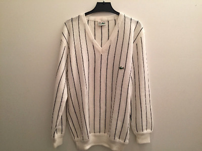 Vintage sweater Lacoste striped black and white FOR MEN, large, MADE IN FRANCE