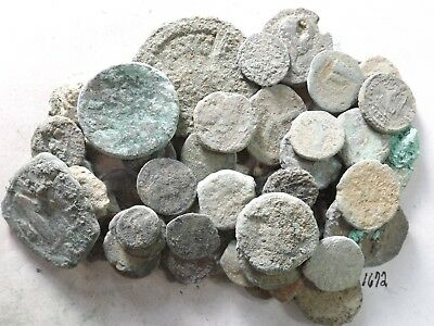 Lot of 50 Lower Quality Uncleaned Crusty Ancient Greek/Roman Coins; 174.9 Grams!