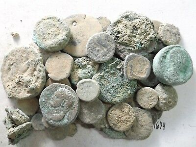 Lot of 50 Lower Quality Uncleaned Crusty Ancient Greek/Roman Coins; 170.8 Grams!