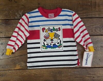 NWT Vintage BUSTER BROWN Boy's Shirt USA Patches Dog Stripes Tee 18 Months (G2)