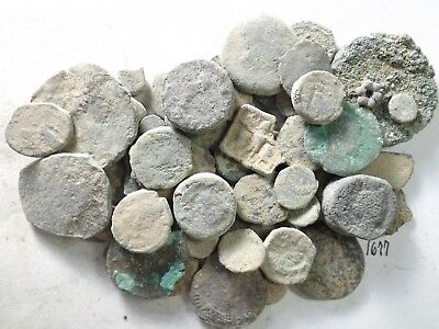 Lot of 50 Lower Quality Uncleaned Crusty Ancient Greek/Roman Coins; 157.3 Grams!