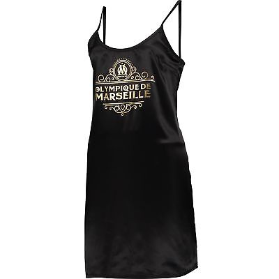 Olympique de Marseille Satin Night Dress Black Womens