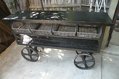 Vintage Industrial 4 Basket Mercato  Cart Of Rusted Iron & Reclaimed Wood