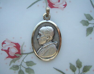 Vintage Catholic Medal POPE PIUS XII Pope of Peace 1950's silver finish metal