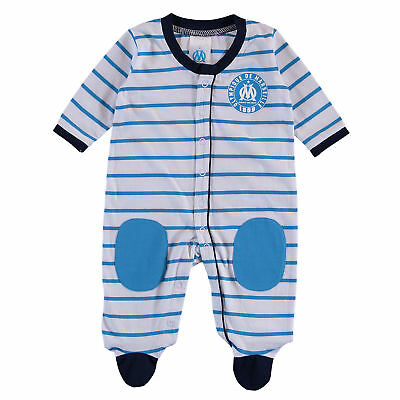 Olympique de Marseille Striped Sleepsuit White/Blue baby Infant & Baby