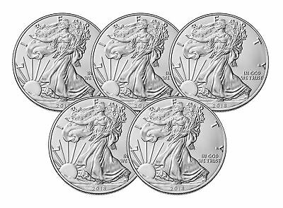 Lot of 5 - 2018 $1 1oz Silver American Eagle 0.999  BU
