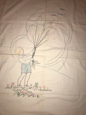 """Vintage/Antique Boy W/ Balloons Hand-Made Crib Quilt 37.""""x 46"""" Old Cotton Fabric"""