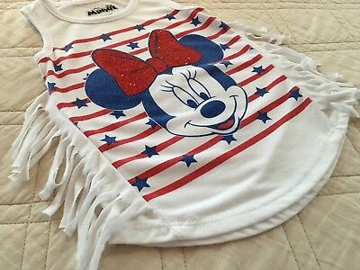 Girls 2T Disney's MINNIE MOUSE Sleeveless Tank Top White Tshirt Excellent