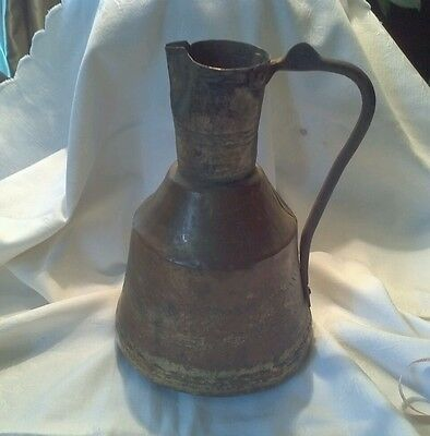 Antique Copper  Brass primitive hand tooled oil  Pitcher w/ handle  rustic