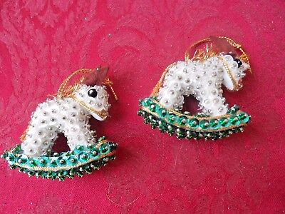 Vintage Hand Made Christmas Ornaments - PAIR OF BEADED ROCKING HORSES