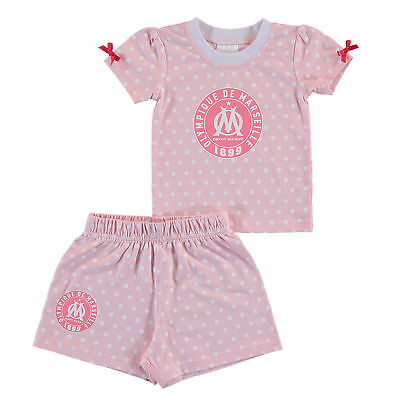 Olympique de Marseille Spotty T Shirt and Short Set Pink Baby Girls Infant &