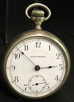 ANTIQUE SETH THOMAS WIND UP NICKEL POCKET WATCH SIZE 18 in GOOD CONDITION