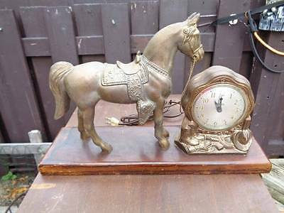 old COPPER OR BRASS WESTERN HORSE COWBOY HAT BOOTS GUN mantle CLOCK *READ*